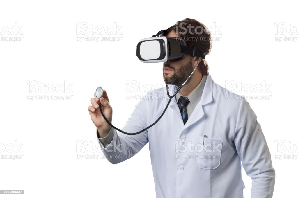Male doctor in his office stock photo