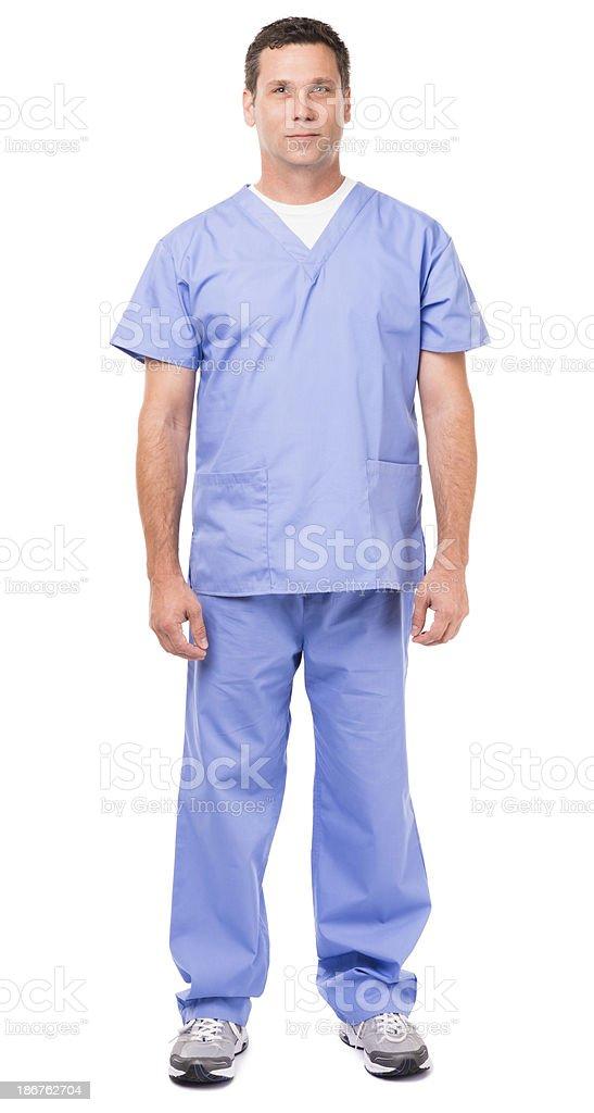 Male Doctor Nurse Isolated on White Background stock photo