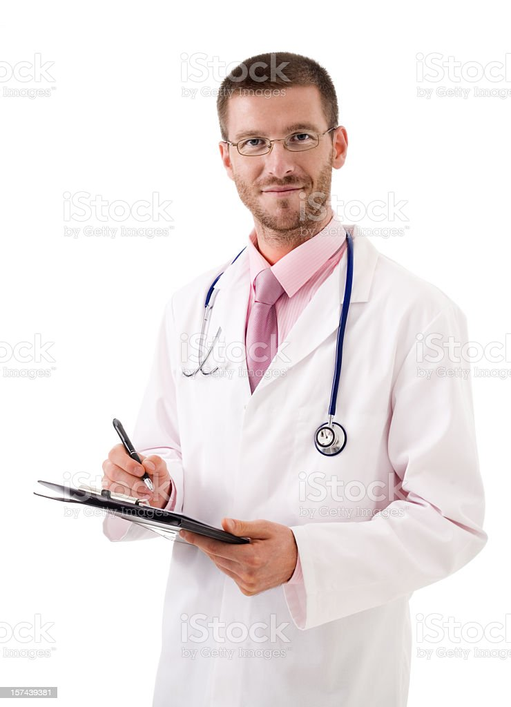 Male Doctor Smiling, Studio Portrait royalty-free stock photo