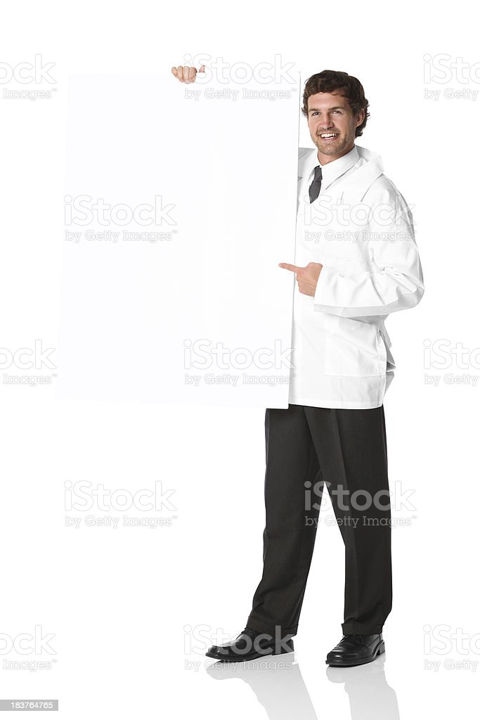 Male doctor standing with a placard royalty-free stock photo