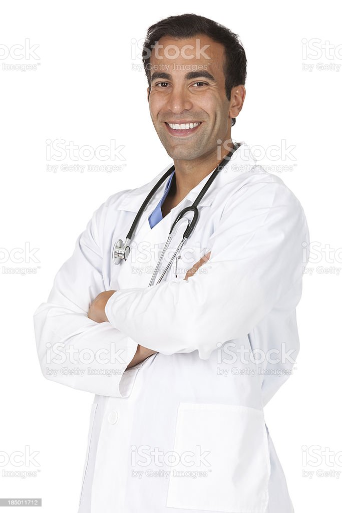 Male doctor standing with his arms crossed stock photo