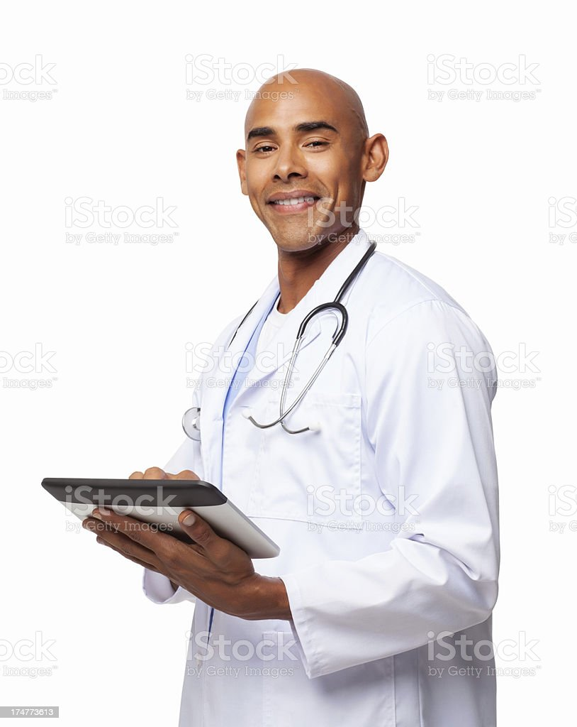 Male Doctor Using Digital Tablet - Isolated royalty-free stock photo