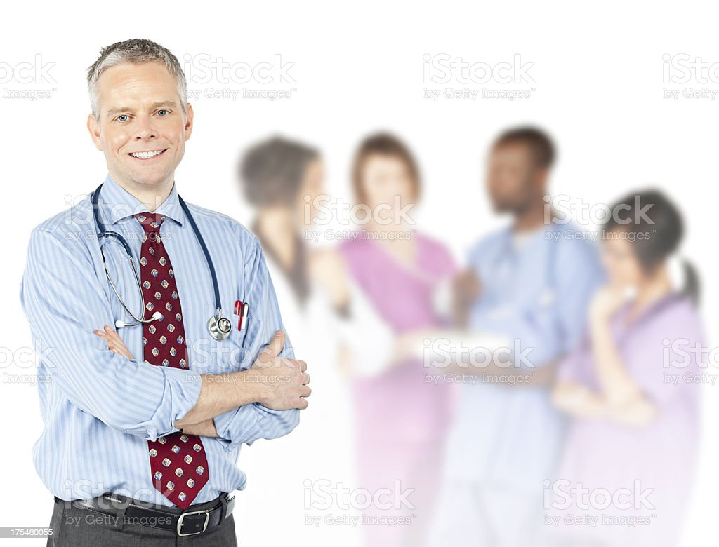 Male Doctor With Diverse Medical Team royalty-free stock photo
