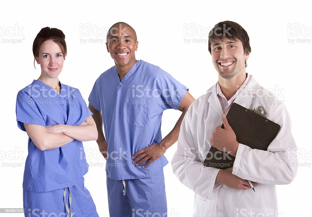 Male Doctor with Nurses stock photo