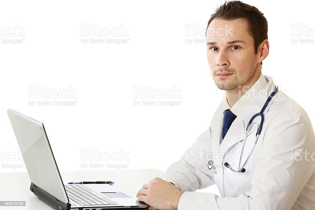 male doctor working at a workplace royalty-free stock photo