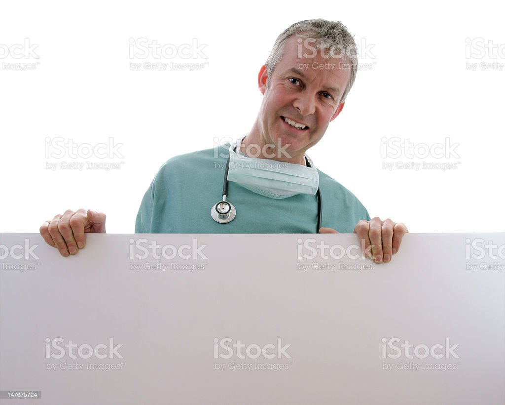 Male Doctor/Surgeon holding Sign royalty-free stock photo