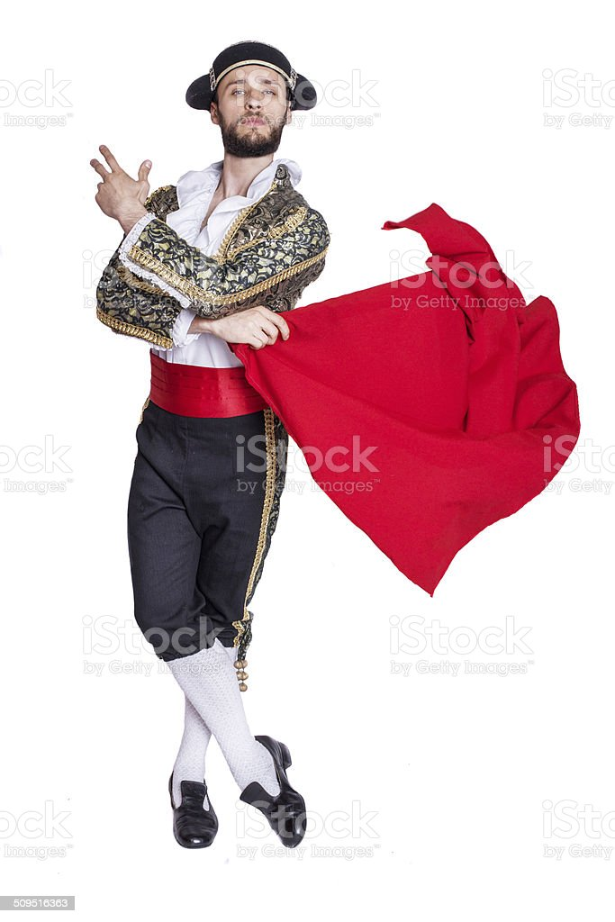 Male dressed as matador on a white background stock photo