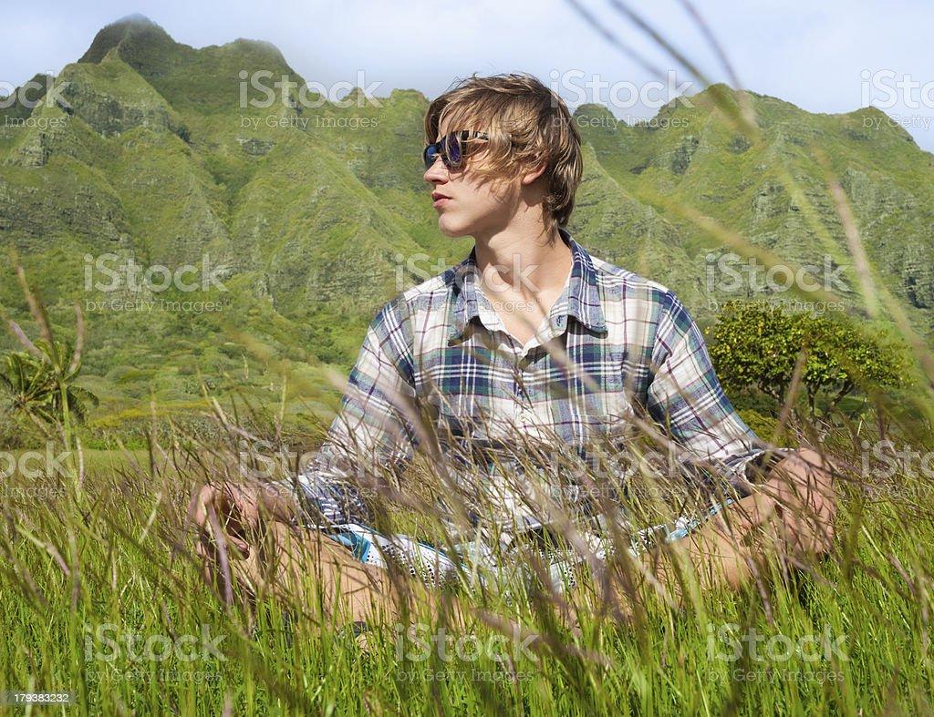 Male enjoying Hawaii's beautiful outdoors royalty-free stock photo