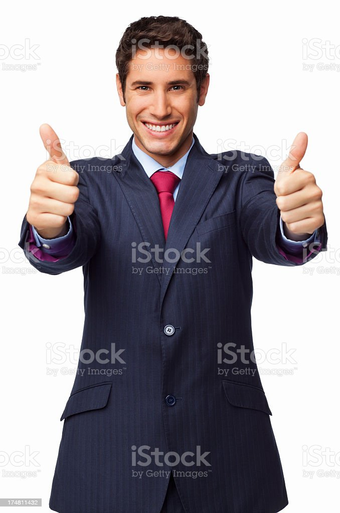 Male Entrepreneur Gesturing Double Thumbs Up - Isolated royalty-free stock photo