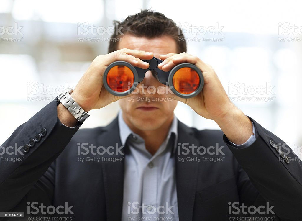 Male entrepreneur looking for business opportunities stock photo