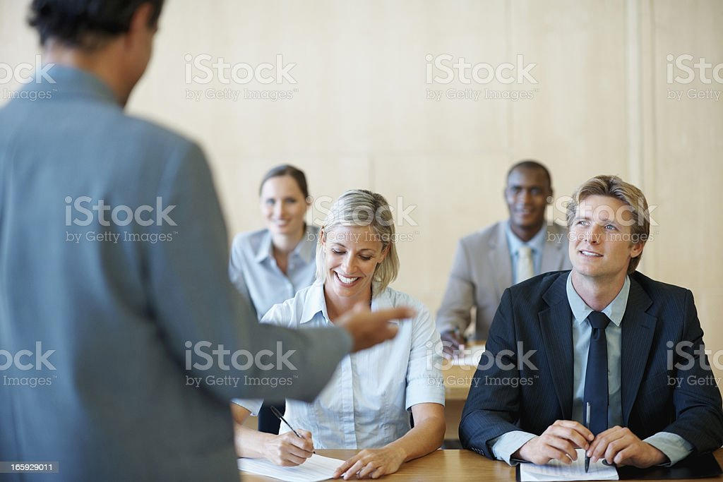 Male executive giving a presentation royalty-free stock photo