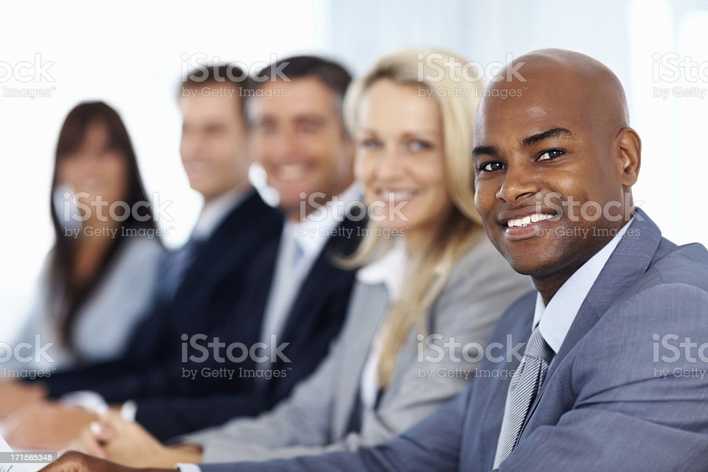 Male executive leading his team royalty-free stock photo