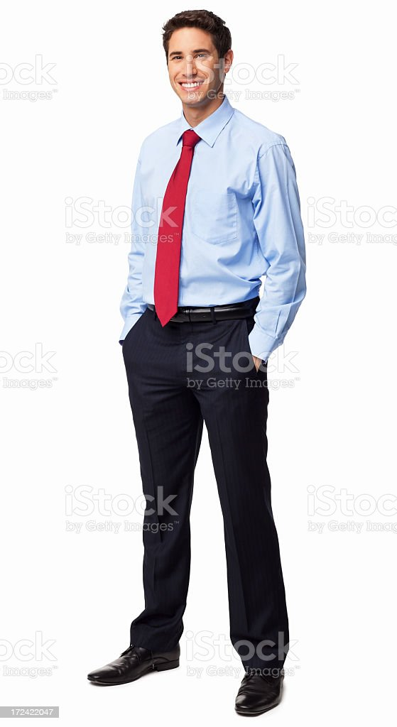 Male Executive Standing With Hands In Pockets - Isolated royalty-free stock photo