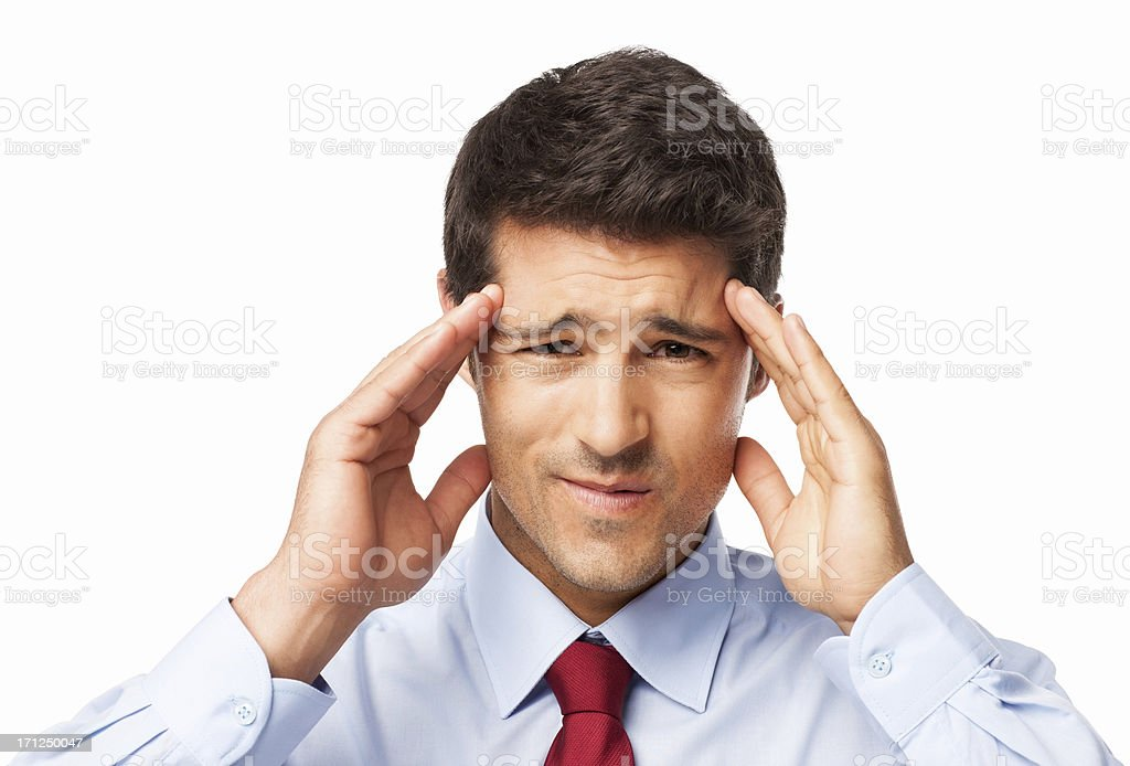 Male Executive With Severe Headache - Isolated royalty-free stock photo