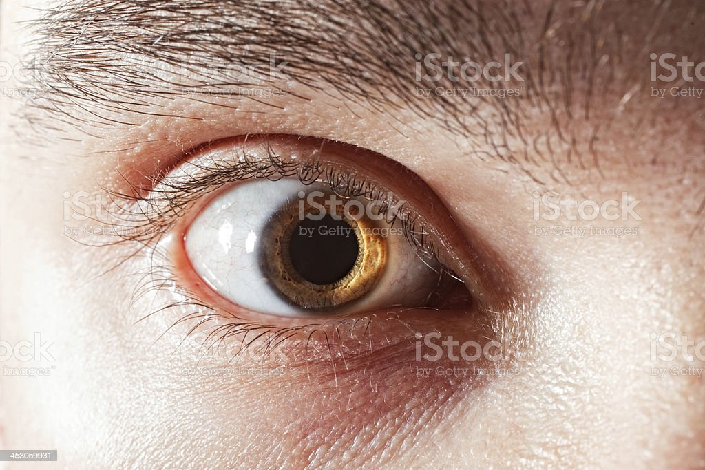 male eye withmydriatic pupil royalty-free stock photo