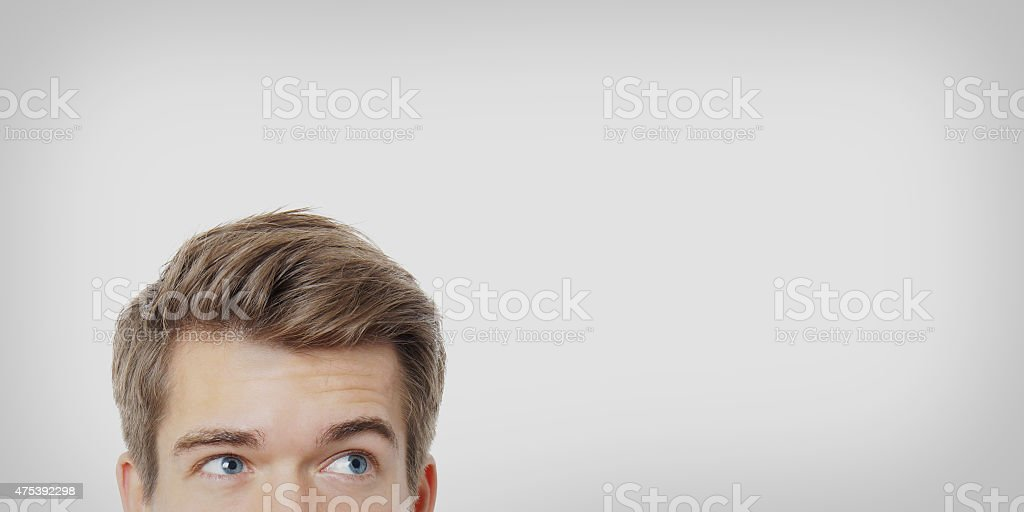 male eyes looking up stock photo