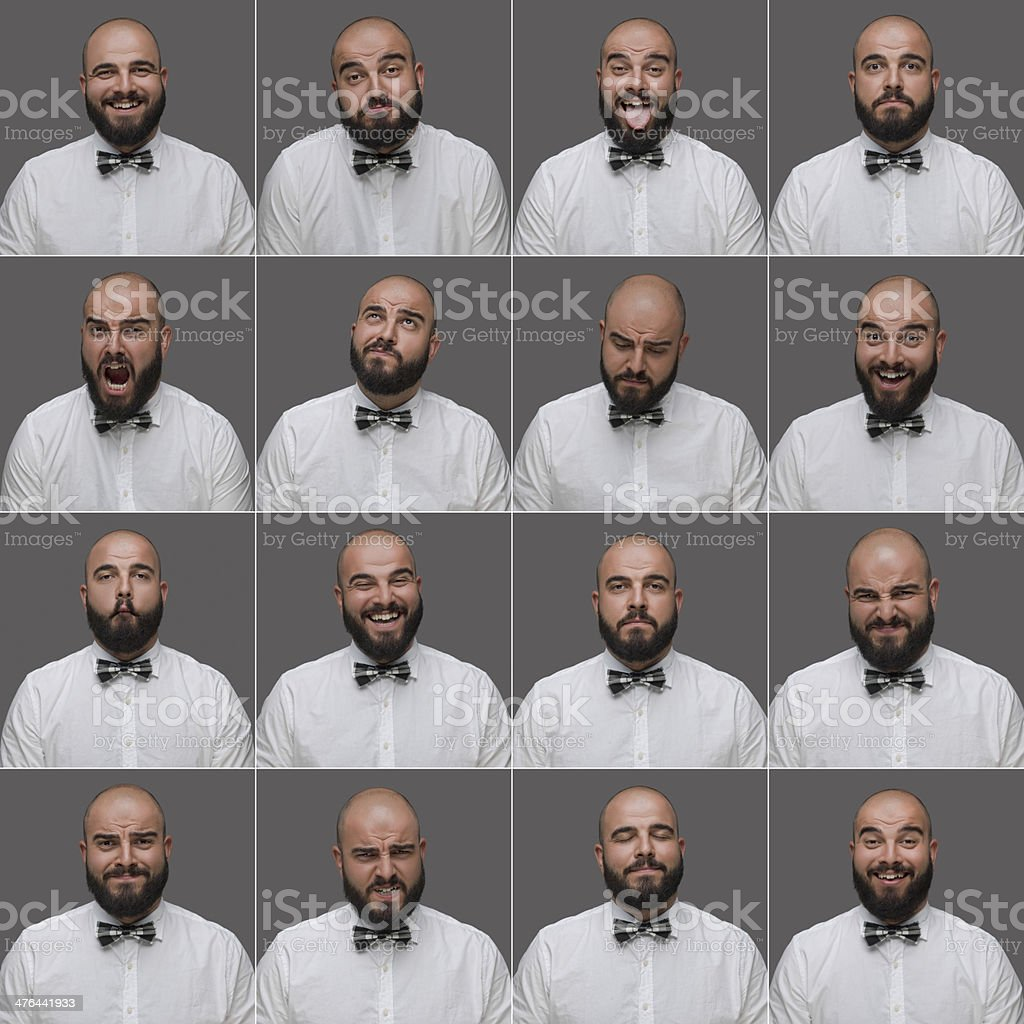 Male facail expressions royalty-free stock photo