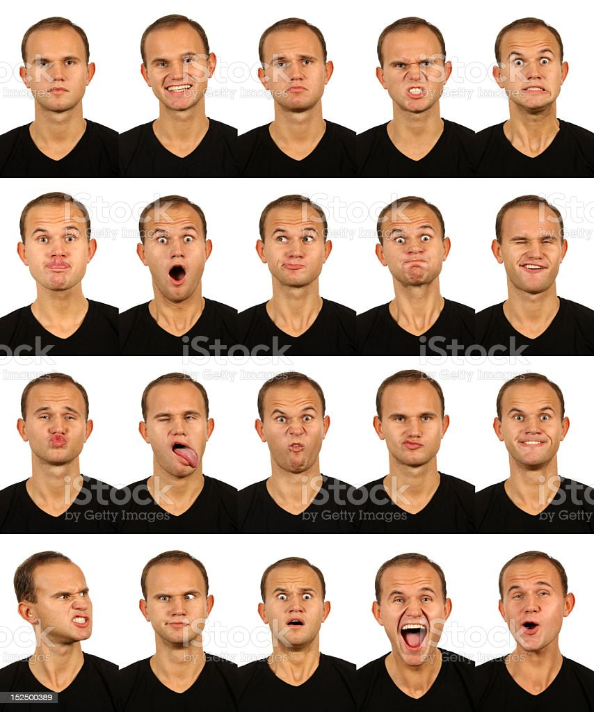 male facial expressions stock photo