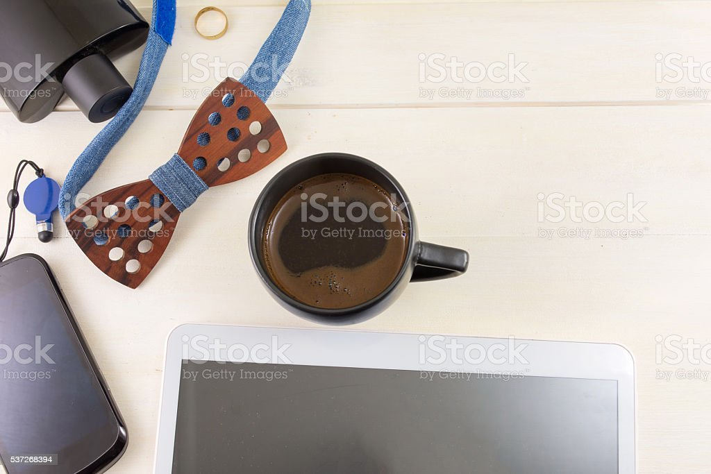 Male fashion and business accessories top view stock photo