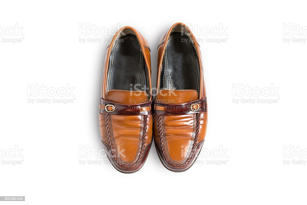 Male fashion leather shoes vintage style on top view stock photo
