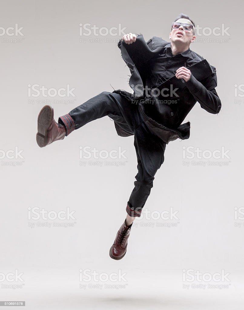 Male Fashion Model. Crazy Jumps stock photo