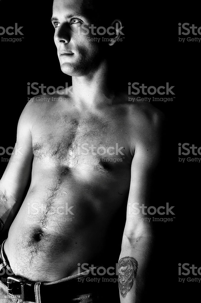 Male Fashion Model In Black & White royalty-free stock photo