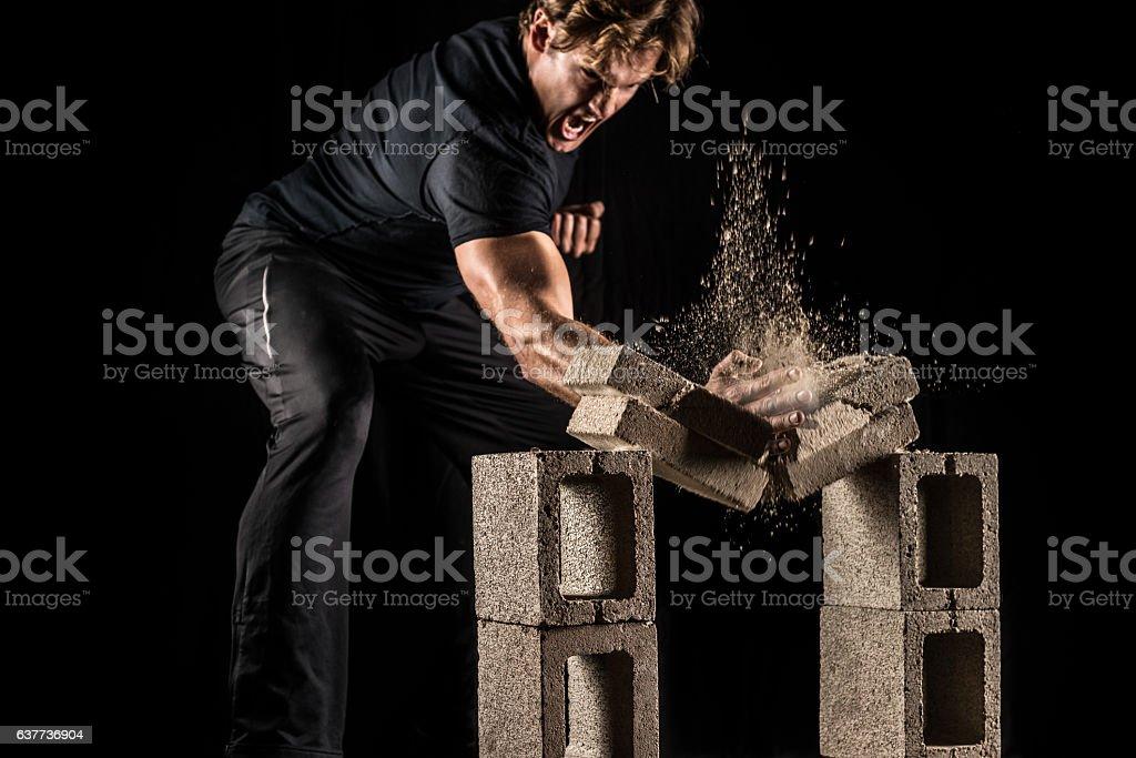 Male Fighter Breaking Bricks stock photo