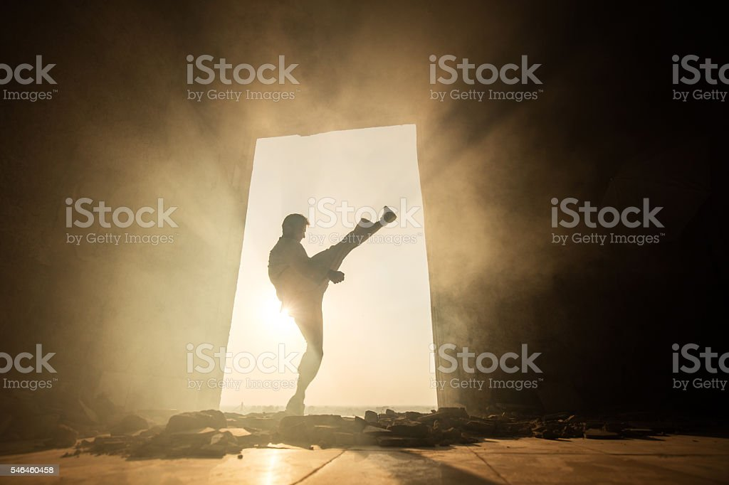 Male fighter performing high kick at sunset among ruins. stock photo