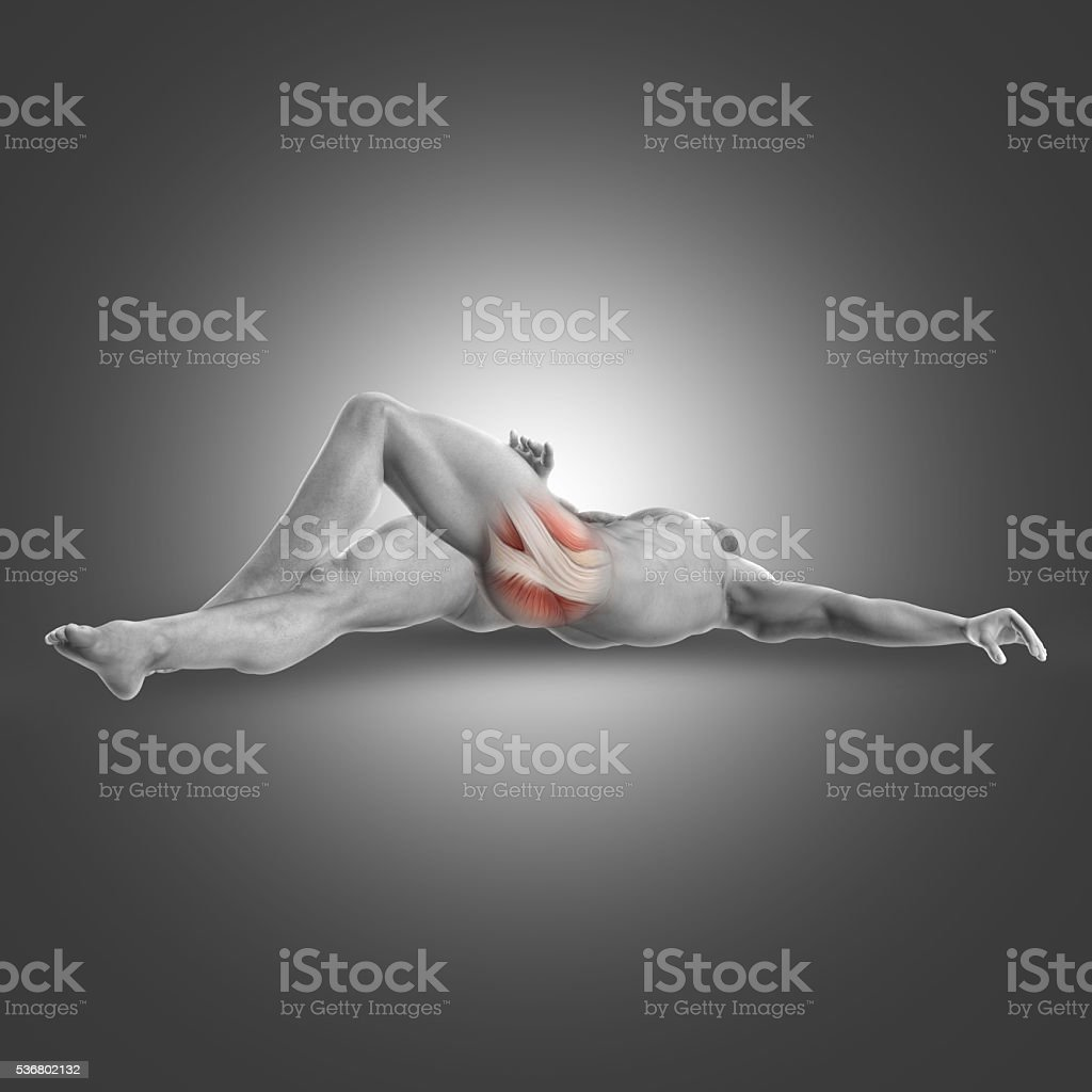 3D male figure in supine deep external rotator stretch stock photo