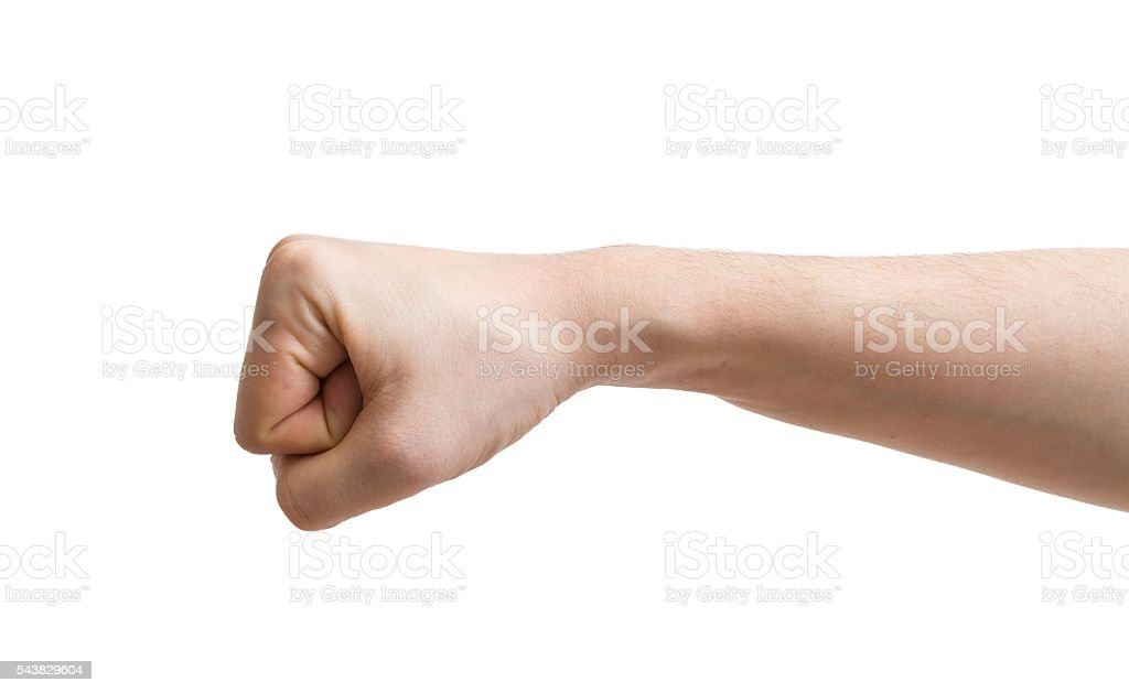 Male fist isolated on white background. stock photo