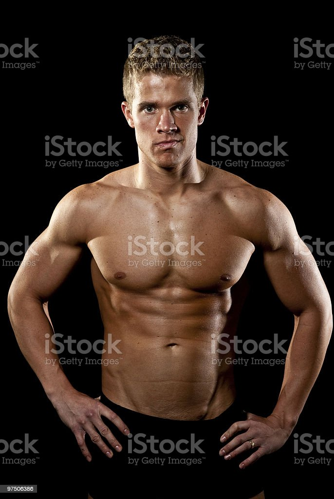 Male Fitness Model - Hands on Hips royalty-free stock photo