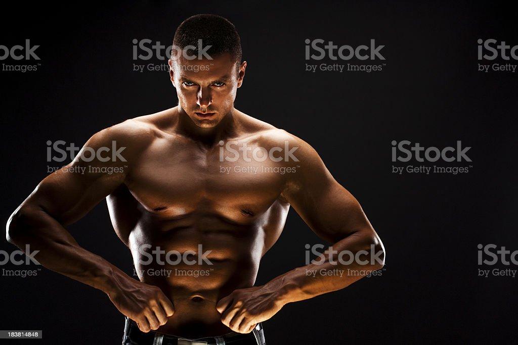 Male Fitness Model - Hands on waist stock photo