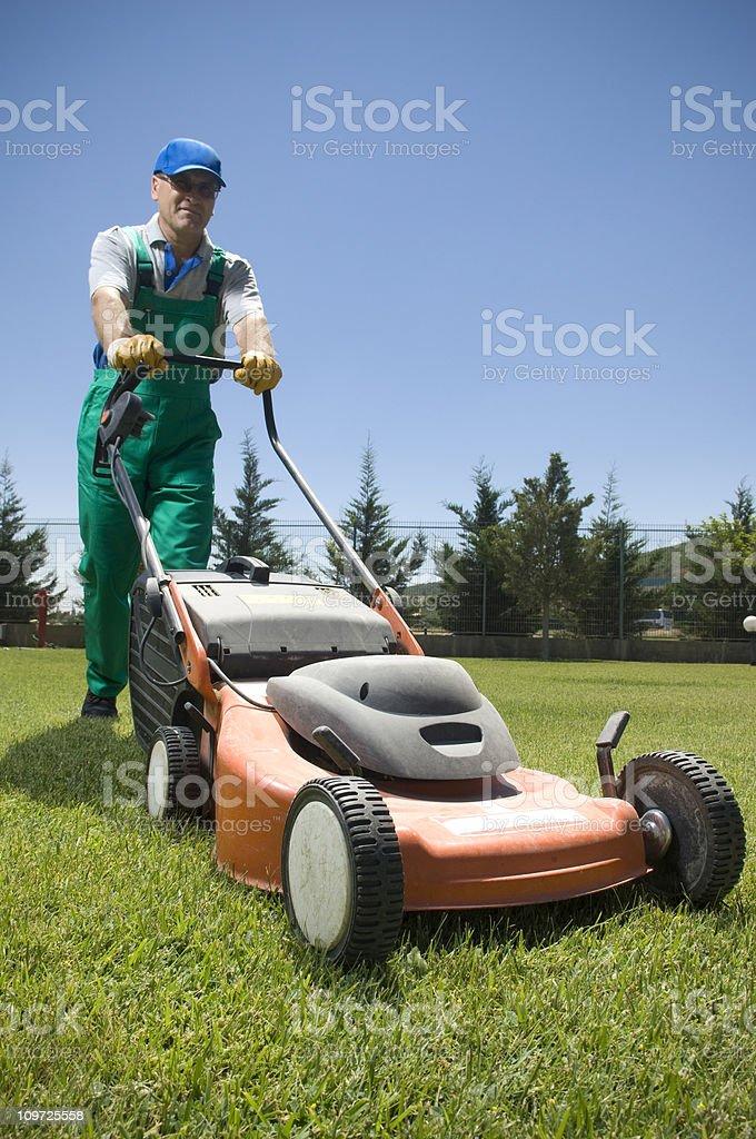 Male Gardener in Overalls Pushing Lawn Mower stock photo