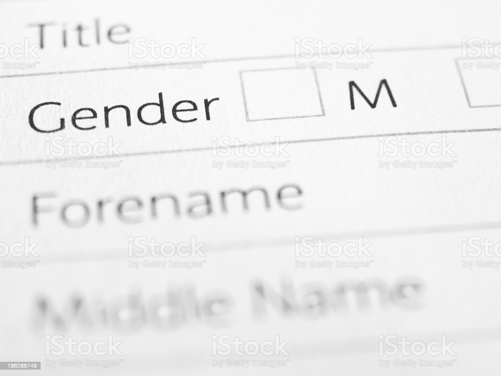 Male gender tick box blank form stock photo