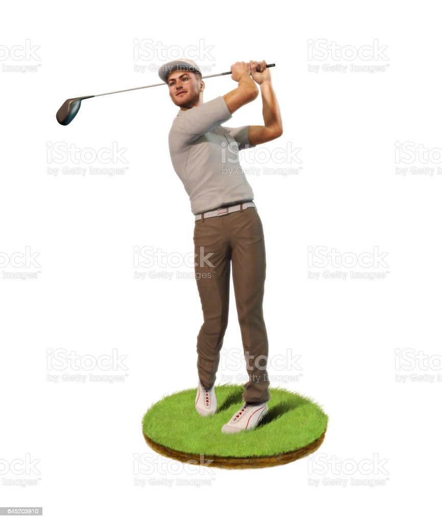 Male Golf player teeing off stock photo