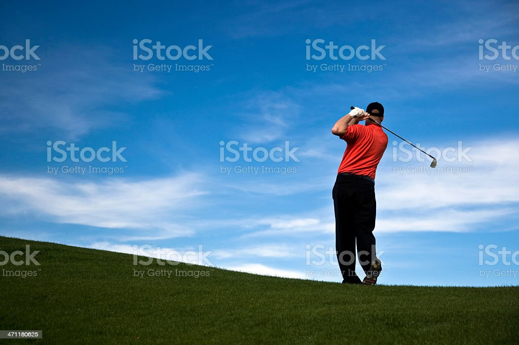 Male Golf Swing Finish royalty-free stock photo