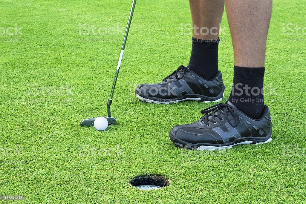 Male golfer putting at green royalty-free stock photo