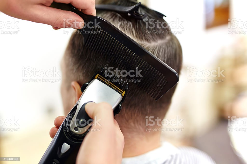 Male hairstyle stock photo