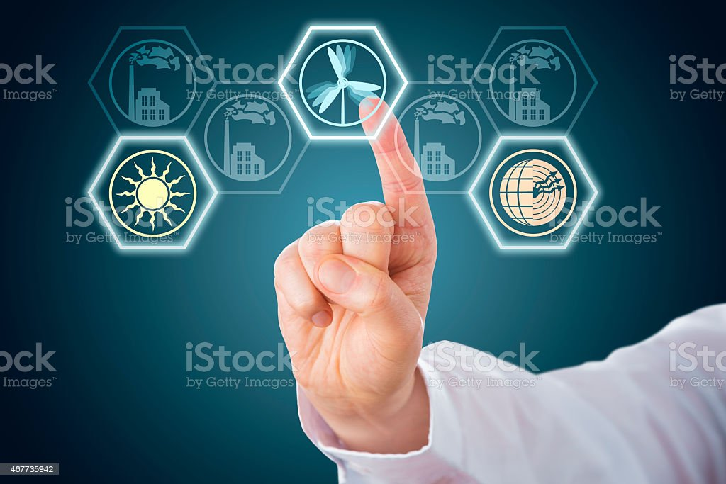 Male Hand Activating Renewable Energy Icons. stock photo