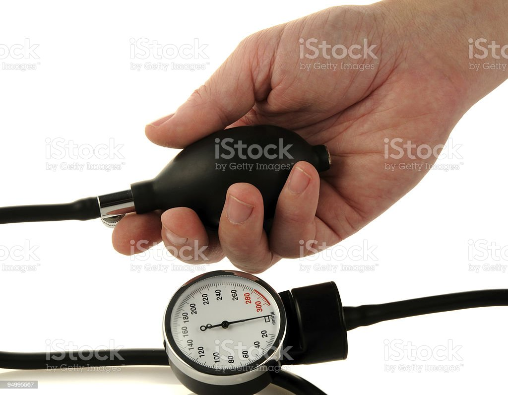 Male hand and medical tool stock photo