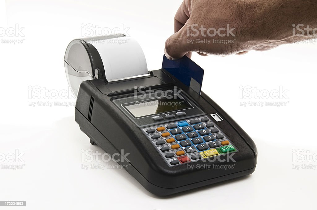 Male Hand at Credit Card Machine royalty-free stock photo