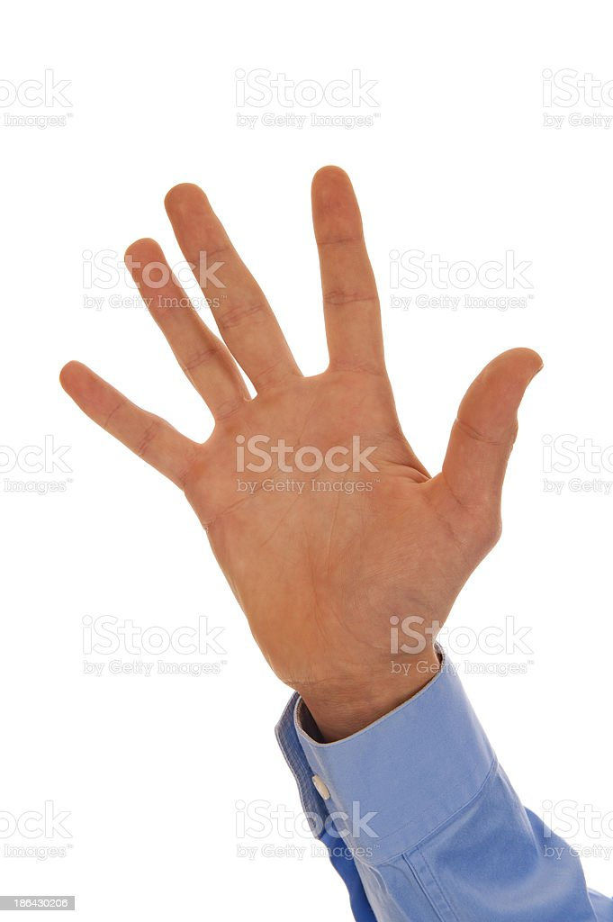 Male hand figuring number five stock photo