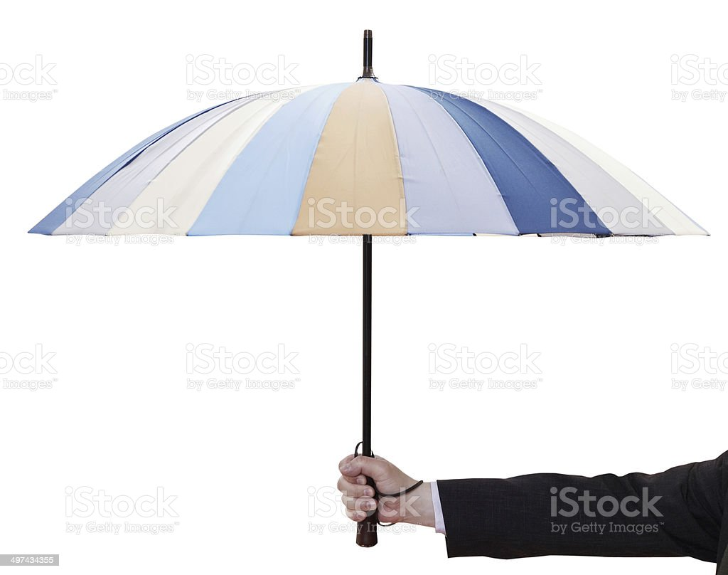 male hand hold open striped umbrella royalty-free stock photo