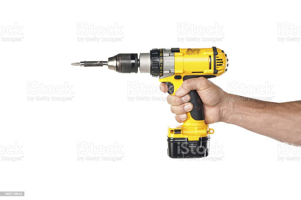 Male Hand Holding A Powere Drill stock photo