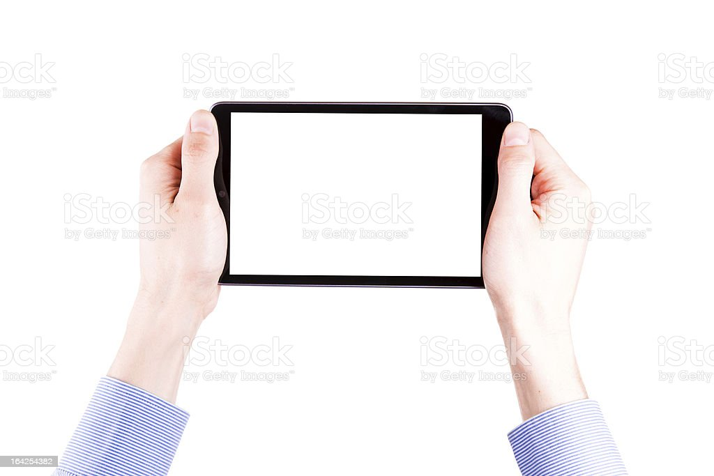 Male hand holding a tablet PC with space for you text royalty-free stock photo
