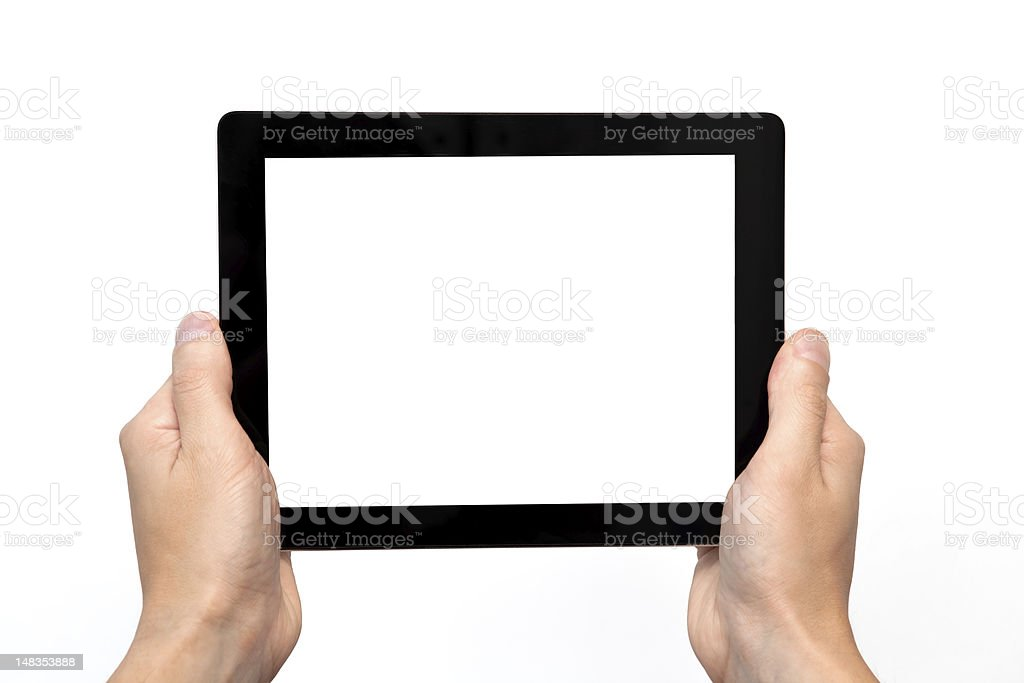 male hand holding a tablet royalty-free stock photo