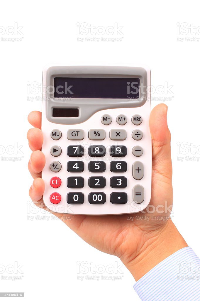 Male hand holding calculator stock photo