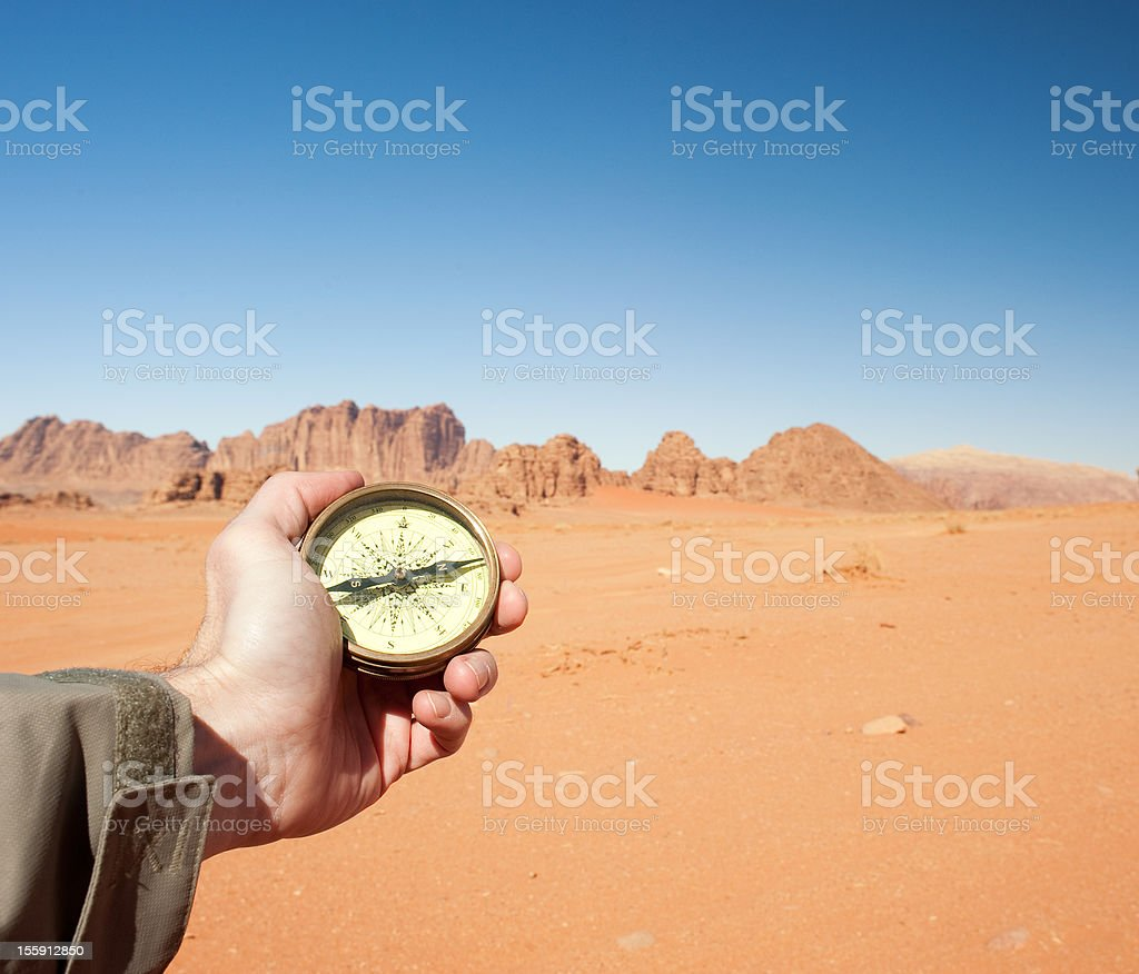 male hand holding compass royalty-free stock photo