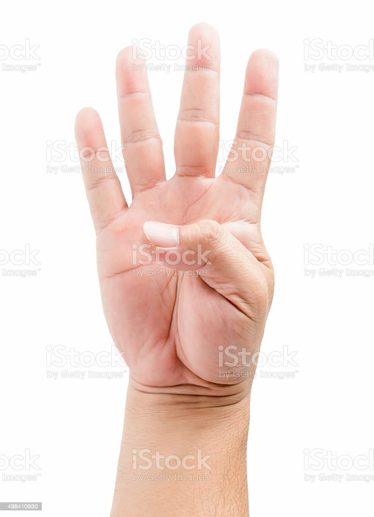 Male hand holding four fingers up, With clipping path. stock photo