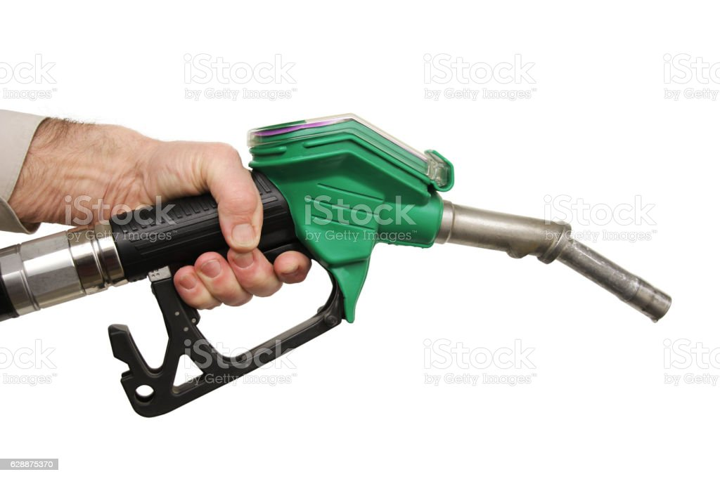 Male hand holding petrol pump stock photo